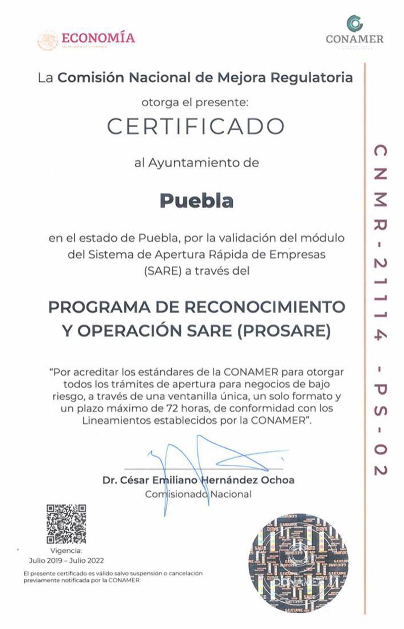 Recibe Ayuntamiento de Puebla certificado para apertura rápida de empresas