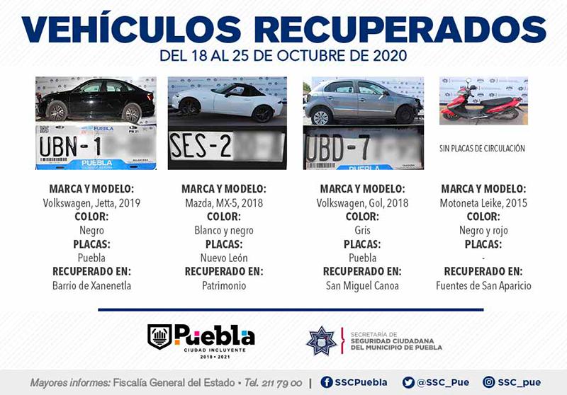 Exitosamente, Policía Municipal de Puebla recupera ocho vehículos con reporte de robo