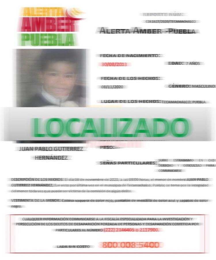 Localizan a menor extraviado en Tecamachalco