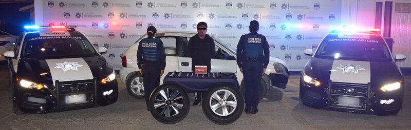 Policía Municipal localizó y detuvo a hombre presuntamente dedicado al robo y comercialización de autopartes robadas