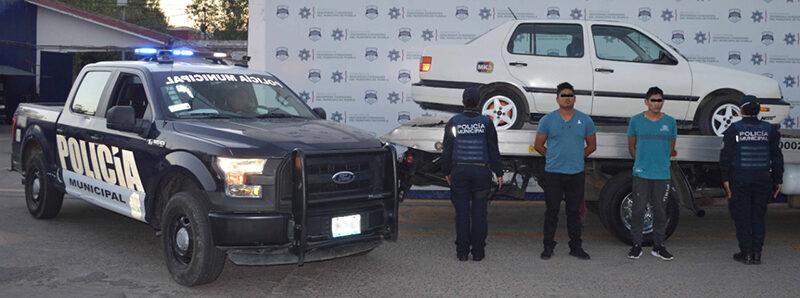 Ubicó y detuvo Policía Municipal de Puebla a dos integrantes de una banda presuntamente dedicada al robo de vehículo