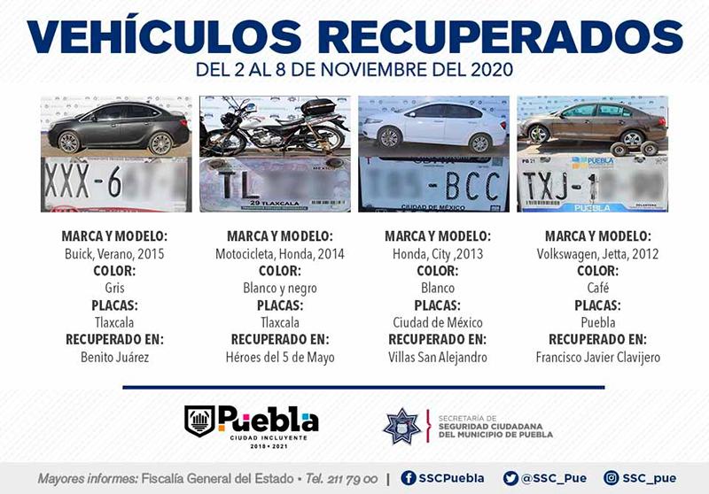 Policía Municipal de Puebla remitió 24 vehículos ante el Agente del Ministerio Público
