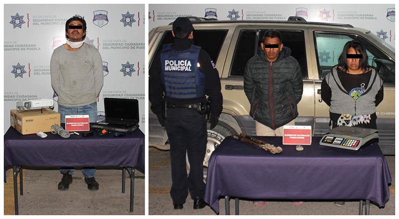 En atención a diversos reportes ciudadanos, Policía Municipal de Puebla detiene a tres presuntos asaltantes